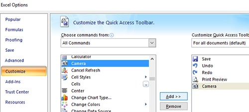 Add camera on the Quick Access Toolbar